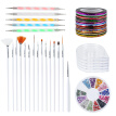 Nail Art Kit includes 30 Striping tape & 4Pcs Striping Roller Box & 12 Colors Rhinestones & 5pcs Dotting Pen & 15pcs Brush Set