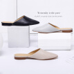 Beijing Tokyo made leather sandals and slippers female Muller shoes flat with pointed simple apricot color 37 (small 1 yard)