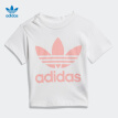adidas Adidas clover short-sleeved suit 2020 summer baby girl training sports suit FT8796 pink white 98/recommended height 98cm