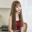 SFANK Hair Dye Wig for Women Synthetic Hair Natural Long Straight Wig With Bangs (15cm bangs, 57cm rear length)