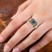Women Men Watch Shaped Two Tone 1.0Ct Natural Sapphire Gemstone Rings Engagement Wedding Band Diamond Ring