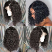 Curly Short Lace Front Human Hair Wigs Pre-Plucked Hairline Wet Wavy Virgin Hair Brazilian Lace Front Bob Wig With Baby Hair
