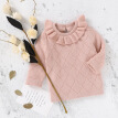 New Fashion Baby Girls Sweater Ruffle Collar Princess Girls Knitted Pullover Kids Basic Sweater Knitted Outerwear Clothes