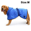 Dog Bathrobe Soft Super Absorbent Luxuriously Microfiber Dog Drying Towel Robe with Hood/Belt for Large, Medium, Small Dogs Blue M