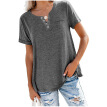 Women's V-neck Solid Color Casual T-shirt Top