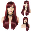 Women's Wine RedWigBig wave Natural Looking Straight hair Wigs
