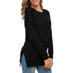 Women Shirt Loose Split Round Collar Autumn Solid Color Loose Long Sleeve Casual Simple Wild T-Shirt