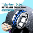 Punk Wedding Mens Stainless Band Ring Spin Titanium Steel Rotatable Chain