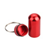 Mini Pill Case Portable Aluminum Pill Box Waterproof Airtight Storage with Key Ring, Red
