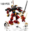 Creative Samurai Transformed Ninja Machine Armor 168pcs Enlightenment Compatible Lego Boys Assemble Building Block Toys