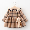 ZR-Kid Girls Dress Autumn Girl Toddler Princess Dresses Kids Baby Party Girl Long-sleeved Navy Plaid Dress