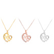 Fashion Mom Letters Heart-shaped Pendant Embedded Diamond Necklace for Mother Jewelry Gift