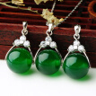 12mm Emerald Agate Bead Pendant Charms Chalcedony Gemstone Necklace Jewelry Bead Pendant for Woman Girl