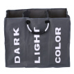 3-Section Large Foldable Oxford Laundry Basket Bag Dirty Clothes Storage Bag Organizer with Aluminum Handles--Dark Grey