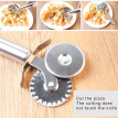 GeweYeeli 2-in-1 Dual Wheel Pasta Pastry Slicer Stainless Steel Dough Pancakes and Pies Slicing Noodle Making Tool