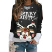 Lovaru Women Christmas Color-block Deer Snowflake Sweatshirt