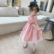 Summer Girls Sweet Dress Kids Foreign Puff Sleeve Cute Princess Dress 3-8 Years Baby Girl Children Fashion Pink Dresses Clothing