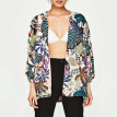 Women Chiffon Beach Kimono Butterfly Birds Leaves Print Open Front Loose Thin Bikini Cover Up Cardigan Green