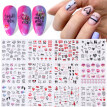 12 Sheets Letter Nail Sticker Adhesive Nail Art Sticker Nail Decal for Valentine