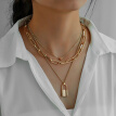 Woman Necklace The New Hip-hop Item Ornaments Personality Trendy Love Lock Pendant Fashion Three-layer Metal Jewellery