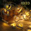 HOTBEST 10LED Hollow Out Love Heart String Fairy Lights Garden Wedding Party Lig