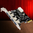 PCI-E to USB 3.0 HUB PCI Express Expansion Card Adapter 5 Gbps High Speed 4 Port Compatible with USB 2.0 & 1.1 Specification