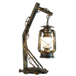 Elenxs Table Lamp Rustic Iron Lantern Bedside Light Lighting with Clear Lampshade for Bedroom Study Room
