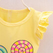 2PCS Fashion Print pattern Toddler Kids Baby Girls Outfits Lolly O-Neck T-shirt Tops+Short Pants Clothes Set
