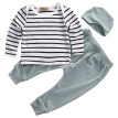 Emmababy Newborn Toddler Kids Baby Boys Girls Outfits 3PCS Long Sleeve Tops+Solid Pants+Hat Fashion Clothes Set