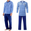 Man Long Sleeve Soft Pajamas Hot Pole Lining Of Blue Striped Top+Solid Pants Set
