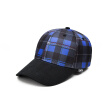 OMTO Baseball Cap 2019 New Original Tide Brand Men and Women Plaid Cap Street Outdoor Sports Bend Embroidery Couple Sunscreen Plaid Hat Hip Hop Hat Blue One Size