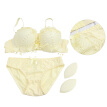 Women Lace Lingerie Set Sexy Bra Soft Push Up Bra Underwear Bra and Panties (Yellow, 75B)
