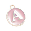 26pcs/set Bracelet Pendant Aluminum Alloy Keyring Pendant English Letter DIY Jewelry Decoration, Pink
