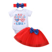 Baby Girl's Letter Romper and Sequin Bow Gauze Skirt with Headband