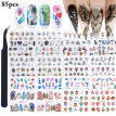 84 Sheets Nail Sticker Assorted Nail Art Decal Nail Art Decoration with Tweezers