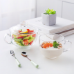 Transparent Glass Oatmeal Breakfast Water Cup Creative Personality Covered Spoon Milk Household Large Capacity Glass Bowl