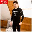 Red beans 2018 new thermal underwear men's plus velvet thick fashion printing can be worn outside round neck cold suit 325 black 185/110