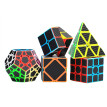 Lovehome 2x2 3x3 Skew Cube Carbon Fiber Sticker Magic Cube Puzzle Toy Set of 5