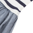 GAP flagship store female cotton striped round neck long sleeve dress 356572 navy blue stripe 12-18M