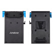 Andoer V Mount V-lock Battery Plate Adapter with 15mm Dual Hole Rod Clamp LP-E6 Dummy Battery Adapter for BMCC BMPCC Canon 5D2/5D3
