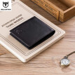 BULLCAPTAIN Genuine Cow Leather Men Wallet Fashion Coin Pocket Brand Trifold Men Purse High Quality Male Card Photo Holder