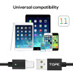 TOPK [1M] 2.4A Magnetic iPhone USB Cable , Upgraded Nylon Braided LED Indicator USB Charge Cable for iPhone