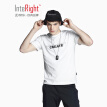 INTERIGHT men's T-shirt round neck cotton letter printing casual short-sleeved hemp purple XXL code