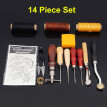 14Pcs Leather Wood Craft Hand Tools Kit Stitching Sewing Waxed Thread Awl Thimble Kits
