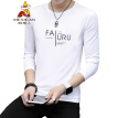 Scarecrow (MEXICAN) long-sleeved T-shirt male Korean version 2019 spring new round neck personality Slim fashion printing comfortable trend bottoming shirt t-shirt shirt men's white 2XL