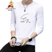 Scarecrow (MEXICAN) long-sleeved T-shirt male Korean version of the self-cultivation 2019 new fashion type round neck print wild comfortable trend t-shirt bottoming shirt men's shirt white 3XL