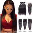 Amazing Star Three Part Lace Closure with Bundles Brazilian Virgin Straight Hair with Closure Top Quality Human Hair with Closure