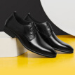 Cardan Road Men's Korean version of the British breathable pointed head dress business casual leather shoes DC1981601 black 40