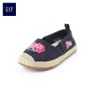 GAP flagship store children's embroidery straw round head flat shoes 292847 Navy blue 15 yards (12.5CM)