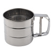 Stainless Steel Mesh Flour Sifter Mechanical Baking Icing Sugar Shaker Sieve Cup